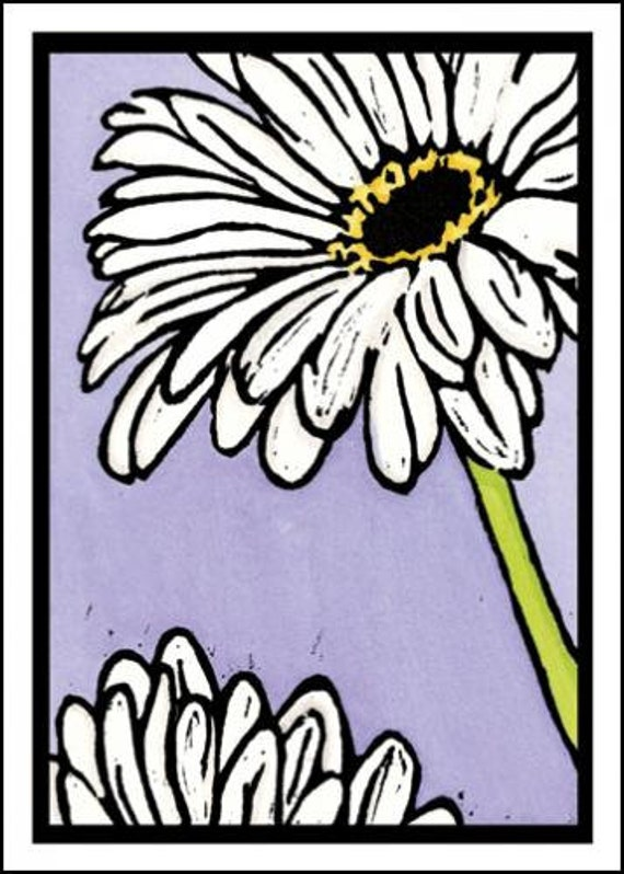 Daisies - Single Blank Sarah Angst Greeting Card - Spring & Summer White Daisy Flowers