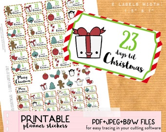 Christmas countdown printable stickers - Cute Xmas Printable planner stickers, advent calendar, DIY, print and cut, PDF instant download