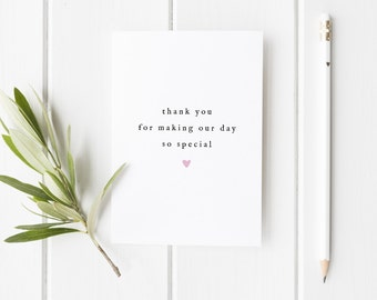 Thank You Wedding Card, Wedding Thankyou For Making Our Day So Special, Bridesmaid Thank You Card, Maid of Honour, Wedding Guest Card