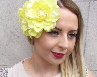 Large Yellow Double Flower Hair Clip Rockabilly 1950s Rose Fascinator Vtg 2836