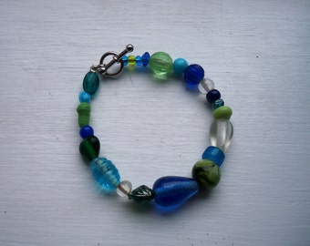 Blue, Green, Clear Glass Bead Bracelet, Silver Toggle Clasp, Beaded