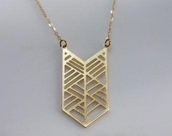 Gold Chevron Geometric Necklace, Geometry Necklace, Large Chevron Necklace, Gold Chevron Jewelry, Trendy Jewelry, Statement Necklace