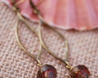 Teadrop brown bead earrings, Everyday Simple Design Jewelry, Bohemian beaded earrings, Boho chick earrings