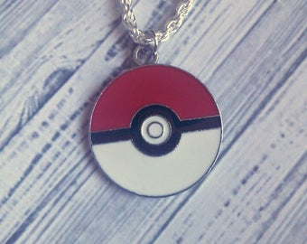 "Pokeball Charm Necklace (Pokemon) 18"" - Choose Your Own Chain"