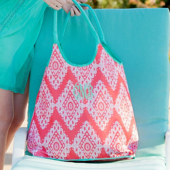 Monogrammed Beach Tote Coral and Mint Tote Bag Overnight Bag Monogram Bag Beach Bag Pool Tote Bridesmaids Gifts Weddings Highway12Designs