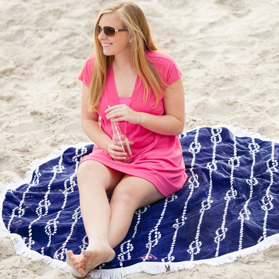 Monogrammed Beach Towel Lounge Chair Cover Personalized Navy Fringed Beach Towel Bridesmaids Gifts Summer Weddings Beach Highway12Designs