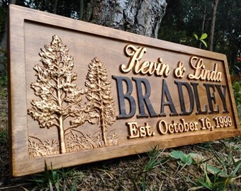 Rustic Wedding Signs Wood Wall Art Personalized Couples Gift Ideas Family Last Name Custom Name Sign Hunting Lodge Decor Tree Wooden Cabin