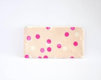 Small Zipper Pouch, Zipper Bag, Makeup Pouch, Cosmetic Pouch, Coin Purse, Bag Storage Organiser - Pink Dots