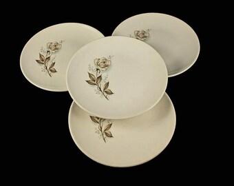Mount Clemens, Salad Plates, Brown Rose, Hard to Find Pattern, Floral Pattern, Set of 4
