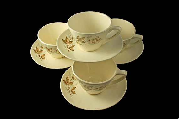 Mount Clemens Cups and Saucers, Brown Rose, Hard to Find Pattern, Floral Pattern, Set of 4