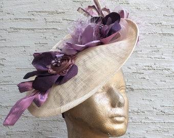 Elegant derby hat, Ivory rose ash hat, Royal Ascot fascinator, Kentucky derby headpiece, cream purple headpiece, Melbourne cup hat, wedding
