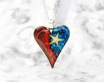 heart necklace blue red jewelry sea star necklace state necklace flag necklace proud mom gift statement necklace army wife gifts texas Рю196