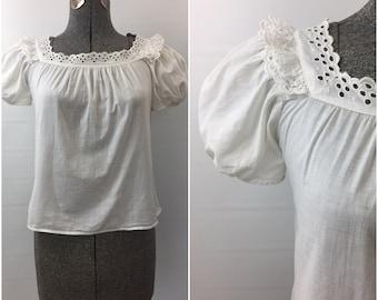 Late 1930s - 1940s White Cotton Eyelet Peasant Shirt