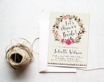 Summer Bridal Shower Invitation Printable, Boho Chic Watercolor Arrows Floral Wreath, Bohemian Bachelorette Invite, Let's Shower the Bride