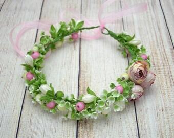 Wedding flower crown Bridal flower crown Gift for her Wedding flower headpiece Bridal head wreath Bridesmaid crown Boho wedding Rustic crown