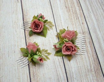 Mini hair comb Set of hair combs Bridal hair fashion Wedding hair comb Romantic wedding Boho wedding headpiece Flowers for hair Bridal comb