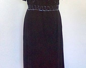 Vintage dress 80s 90s Route 66  Black evening dress with beaded flowers size large