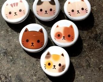Set of all Cat Pins // button / cute / kawaii / cat lady
