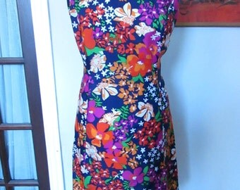 1960s handmade bright floral shift dress with pleat detail