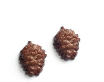 Pine Cone Stud Earrings, Pinecone, Fall Jewelry, Woodland