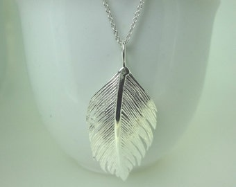 Sterling Silver Feather Pendant Necklace