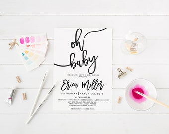 Oh Baby Invitation Baby Shower Invitation Black and White Modern Invitation Printable Baby Shower Invitation Calligraphy Invitation