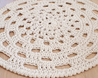 Cotton rope crochet rug, Natural oversized doily rug Deck decor, Traditional crochet cotton rug