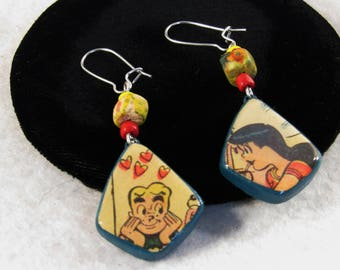 Recycled Comic Book Earrings Archie Veronica Riverdale Gang Beaded Dangle Pierced OOAK Cartoon TV Character Jewelry Birthday Gifts for Her