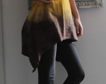 "Boho dress - ""HALF MOON"" - open on back and front - hand dyed - organic fabric - ecofriendly - golden brown - size S - hemp and cotton"
