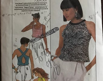 Simplicity 8025 - 1980s Stretch Knit Tops in Two Lengths with Back Cut Out - Size 12 Bust 34