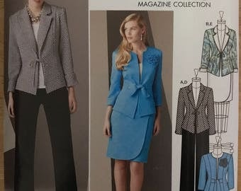 Simplicity 2229 - Work Separates Jacket with Bow Tie Closure, Pants, and Faux Wrap Skirt - Size 8 10 12 14 16 OR 16 18 20 22 24