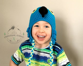NEW! Crocheted blue parrot beanie, knitted hyacinth macaw cap, exotic blue bird animal hat for toddlers & kids 1 to 4 years old