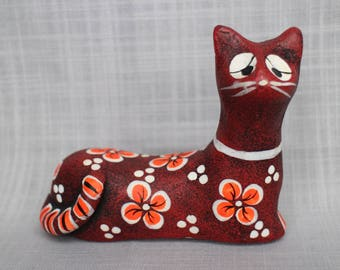 Vintage Mexico Cat Figurine, Retro Kitsch Cat Statue, Mexican Art Pottery Cat Figurine, Red and Orange Floral Design Cat Figurine
