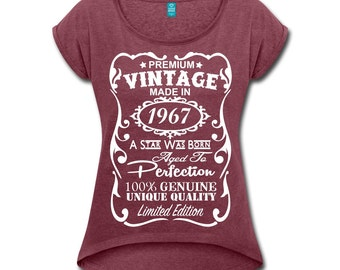 50th Birthday Shirts for Women - VELVETY PRINT - 50th Birthday Gift for Women - Unique Vintage Color V-neck T-Shirt - Made in 1967 Shirt