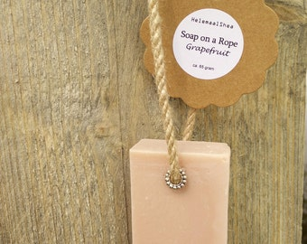 Soap on a Rope, Grapefruit - handmade, all natural soap with grapefruit essential oil and tussah silk / pink clay soap