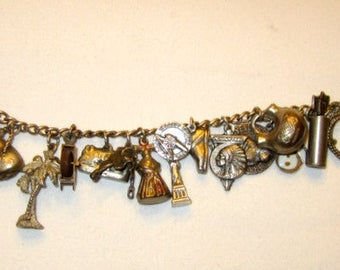 Mid-Century Vintage Sterling Silver Charm Bracelet with 21 Charms