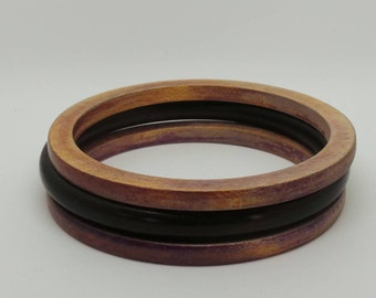 Vintage bangles - set of three wooden bangles