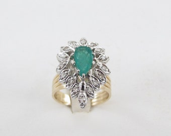 14K Yellow Gold Diamond And Emerald Ring, Vintage Natural Emerald Ring