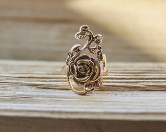Rose Ring, Boho Ring, Flower Ring, Statement Ring, Ring for Her, Bohemian Ring, Rose Jewelry,Flower Jewelry,Women's Ring, Mother's Day Gift