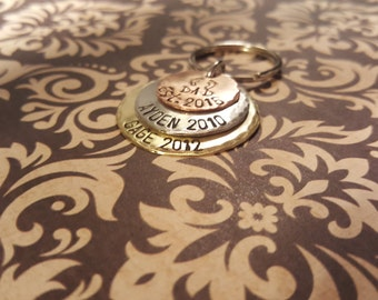 TRIPLE stack keychain with 2 names/years hand stamped baby feet with NAME and est. date