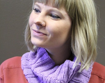 Lavender hand knit cowl