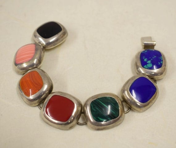 Bracelet Sterling Silver Coral Lapis Onyx Handmade Handcrafted Green Red Blue Bracelet Silver Gift for Her Jewelry