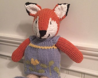 "Knitted stuffed ""Fiona"" The Fox"