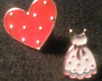 Sweet heart dress and heart lapel pin, FREE SHIPPING