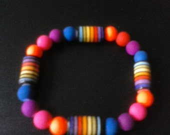 Neon rainbow beaded stretch bracelet, Free shipping