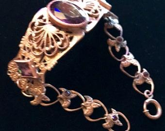 VICTORIAN~Ornate,  FILIGREE BRACELET w. purple stones.