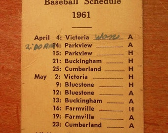 1961 Baseball Schedule Card~ Randolph-Henry High School Charlotte County, Virginia