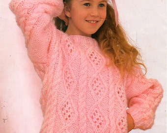 """childrens super chunky sweater knitting pattern PDF girls baggy patterned cable jumper 24-32""""super chunky super bulky 16ply Instant Download"""