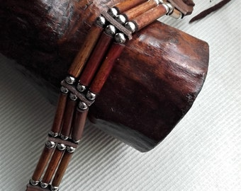 Indian choker  3 rows  wooden and metal beads  ref: C 93