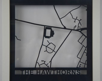 West Bromwich Albion - The Hawthorns - Laser cut map - Shadow Frame - White - Stadium Map - Football - Soccer